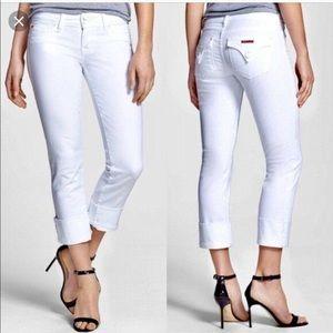HUDSON WHITE GINNY Cropped Jeans w/ cuff